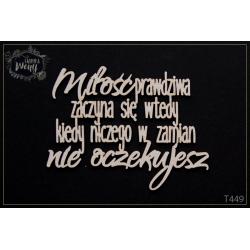 Chipboard - Polish text-Miłość prawdziwa zaczyna...