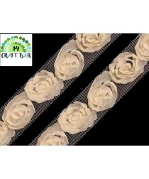 Lace Trim Roses - CREAM