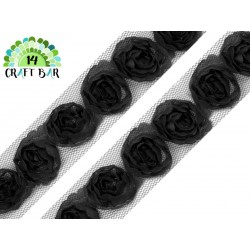 Lace Trim Roses - BLACK
