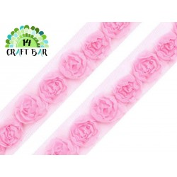 Lace Trim Roses - PINK