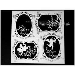Chipboard - decorative frames I LOVE YOU/4pcs