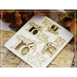 "Chipboard -Inscription ""with love"" /4pcs"