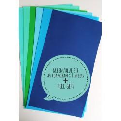 Foamiran A4 Set - Green/Blue