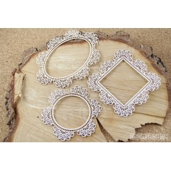 Chipboard - Doily Lace -  set of 3x Frames