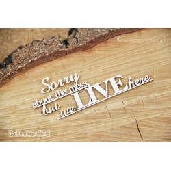 """Chipboard -  text: """"sorry about the mess...."""""""