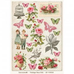 Scrapbooking Paper- Die Cut A4 Sheet  Vintage Time  004