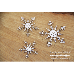 Chipboard - 3 snowflakes
