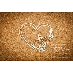 Chipboard - Heart frame with roses
