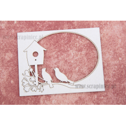 Chipboard -Floral decor with birds and a booth/ oval frame