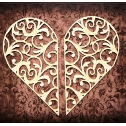 Chipboard - Hearts to exploding box / swirls