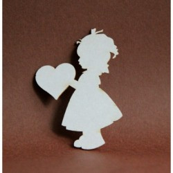 Chipboard - Girl with heart