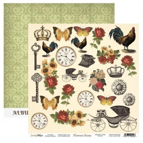 Scrapbooking Paper- 12x12 Sheet - FLOWERS STORY 06