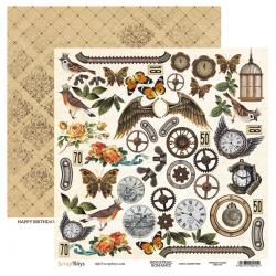 Scrapbooking Paper- 12x12 Sheet - INDUSTRIAL ROMANCE 06