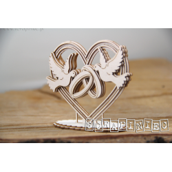 Chipboard -  Heart, doves and rings 3D