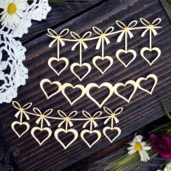 Chipboard - Garland of hearts /3pcs
