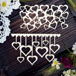 Chipboard - Garland of hearts + small bacground /2pcs