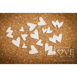 Chipboard - Set of stitched hearts / 14pcs