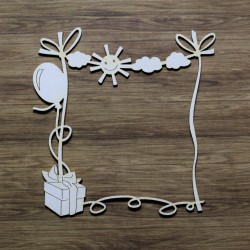 Chipboard - Baby frame with sun