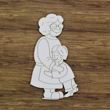 Chipboard - Granny with grandson