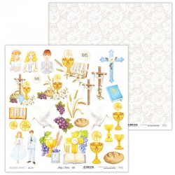 Scrapbooking Paper- 12x12  SHEET OF EXTRAS TO CUT/ Holy & White