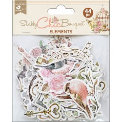 Ephemera DIE CUT Elements - Shabby Chic Bouquet / 44pcs