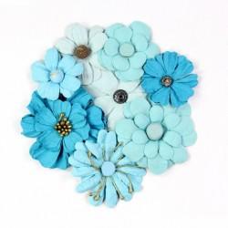 Little Birdie Flowers - SYMPHONY / Aqua / 8pcs