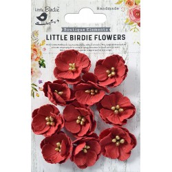 Little Birdie Flowers - EMBOSSED DAISIES / Cherry / 12pcs