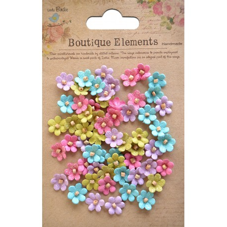 Little Birdie Flowers - BEADED MICRO PETALS / French Carnival / 60pcs