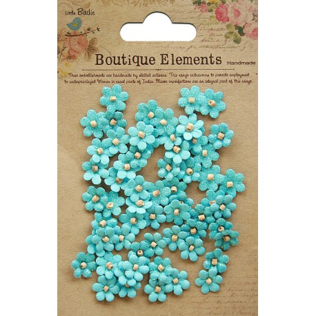 Little Birdie Flowers - BEADED MICRO PETALS / Forget me not/ 60pcs