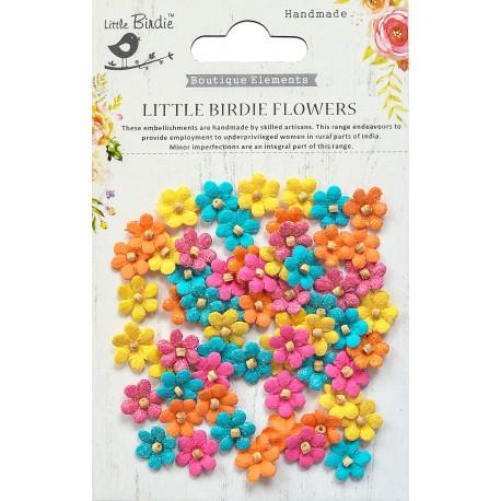 Little Birdie Flowers - BEADED MICRO PETALS / Vivid Palette/ 60pcs