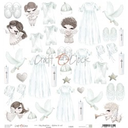 Scrapbooking Paper- 12x12  SHEET OF EXTRAS TO CUT/ Holy Baptism