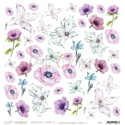 Scrapbooking Paper- 12x12  SHEET OF EXTRAS TO CUT/ Pink & Purple Flowers