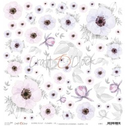 Scrapbooking Paper- 12x12  SHEET OF EXTRAS TO CUT/ Pink & Lilac Flowers