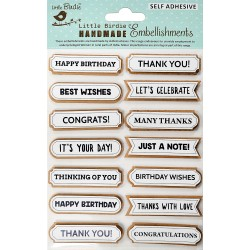 Stickers/ Self Adhesive Elements - WISHES WORDS /14pcs