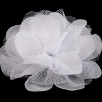 Organza Rose  8 cm - WHITE