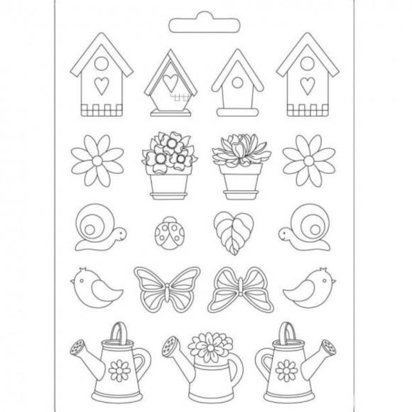 Plastic Mold A4 -  Spring Garden - 19 elements