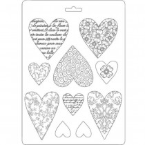 Plastic Mold A5 -  Hearts -...