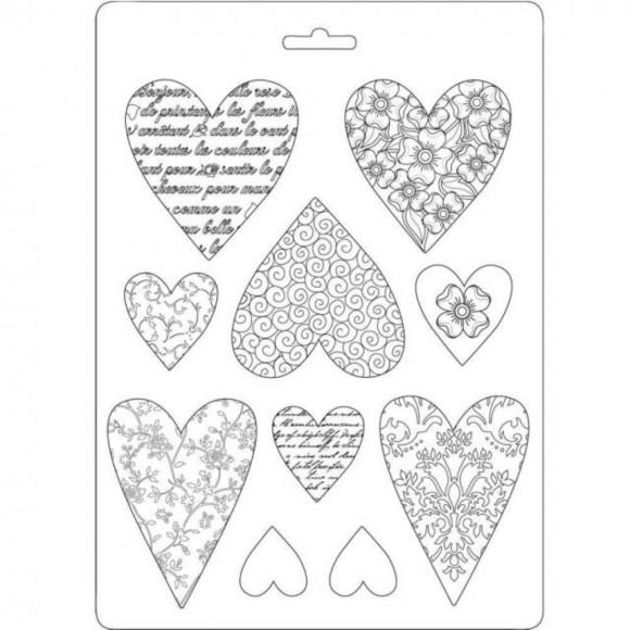Plastic Mold A5 -  Hearts - 10 elements