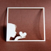 Chipboard - Kiss with heart...