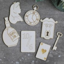 Chipboard - Alice set - 7pcs