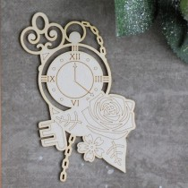 Chipboard - Clock with rose...