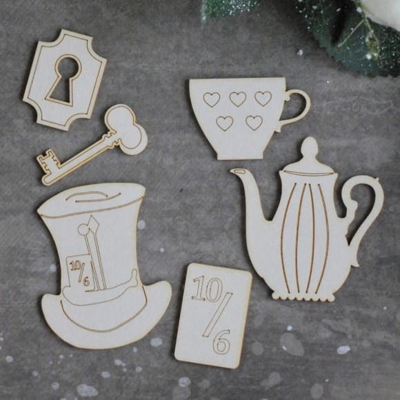 Chipboard - Alice in Wonderland set - 6pcs