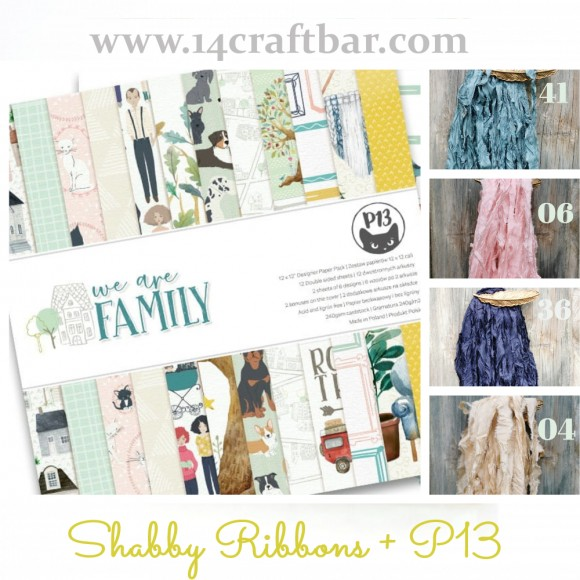 Shabby Ribbon Set with P13 - WE ARE FAMILY