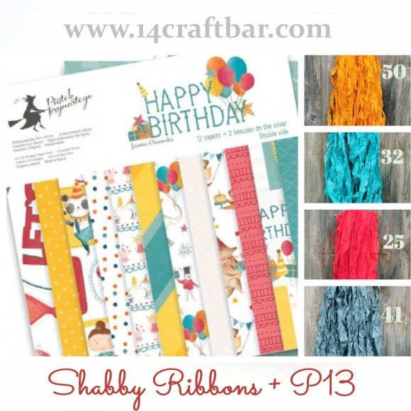 Shabby Ribbon Set with P13 - HAPPY BIRTHDAY