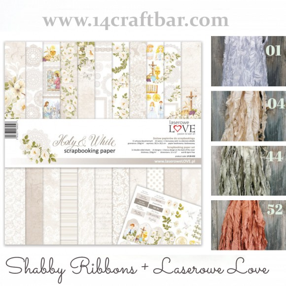 Shabby Ribbon Set with Laserowe Love  - HOLY AND WHITE