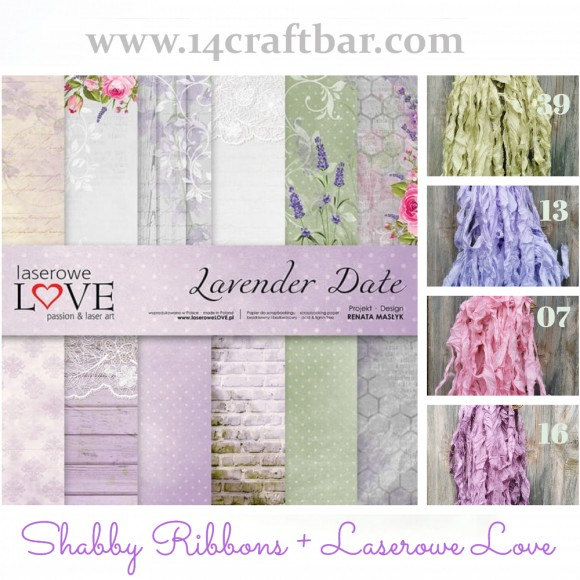 Shabby Ribbon Set with Laserowe Love  - LAVENDER DATE