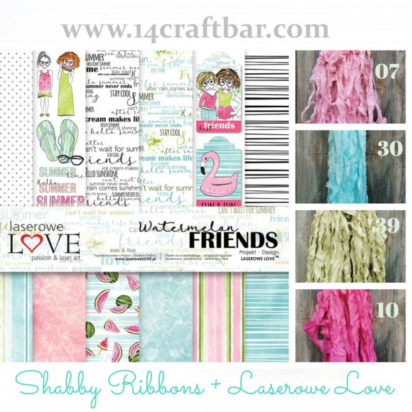 Shabby Ribbon Set with Laserowe Love  - WATERMELON FRIENDS