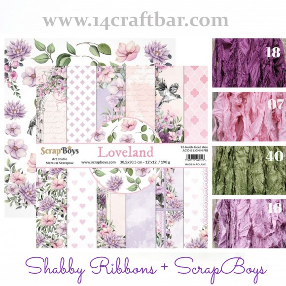 Shabby Ribbon Set with ScrapBoys - LOVELAND