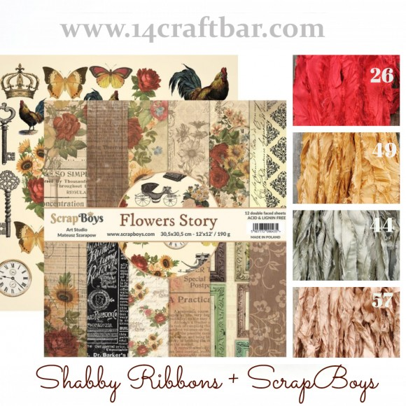 Shabby Ribbon Set with ScrapBoys - FLOWERS STORY