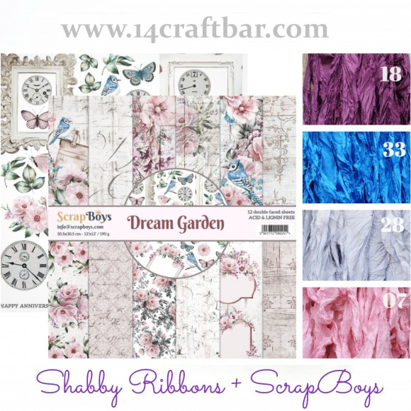 Shabby Ribbon Set with ScrapBoys - DREAM GARDEN